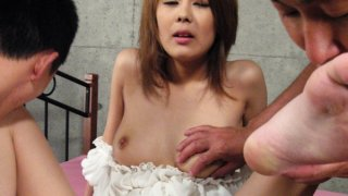 Petite Asian cougar gets a messy creampie