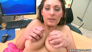 PRetty busty girl Devon James fucks hard in front of the camera