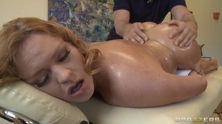 Busty Krissy Lynn gets an oiled massage by her boyfriend's brother