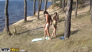 Voyeur spy camera caught teen Angelina fucking with her boyfriend's best friend on the beach