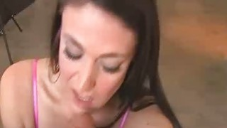 Girl gives blowjob in her bra