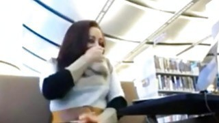 Hitachi action in library with horny teen on webcam