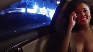Booby ebony teen Julie Kay hooked up and nailed in public