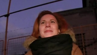 Czech redhead banging in the car in public