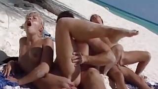 Public groupsex on the beach