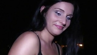 Good looking busty babe fucks in public at night