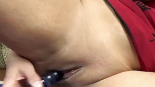 Lavender Rayne plays with her glass dildo
