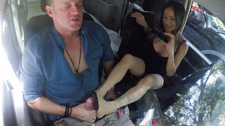 Quick foot job on the road
