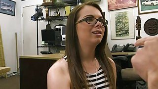 Babe with glasses railed by pawn man in the back office