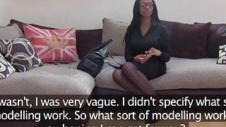 Casting agent tricks ebony newcomer Lola into passionate sex