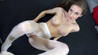 German cunt in pantyhose gets slammed and creamed