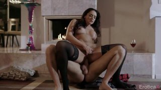 Big booty babe has passionate lovemaking session by the fireplace