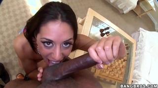 Lyla Storm swallows a massive black cock