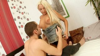 Sexy blonde teen Gelya gives head and gets her ass eaten