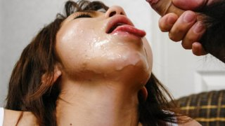 Japanese big titty babe Airi Nakajima is covered in hot man batter.