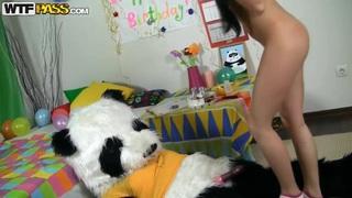 Amateur birthday girl fucks with her best friend panda bear