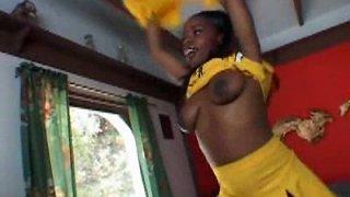 Dark skinned cheerleader Mocha Delight sucks a dick in the bus
