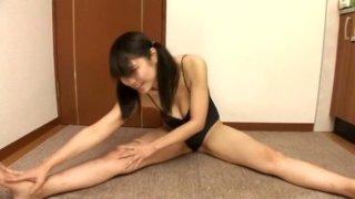 Chubby face girl Hikari Asahi is playing with a hopper ball