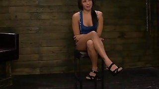 Brunette slut Isa Mendez bondaged and fucked roguh