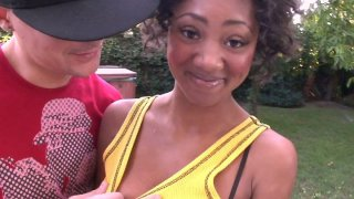 Teen ebony Evanni Solei shows off her bra and thongs