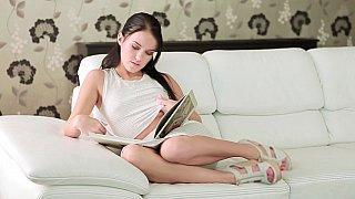 Innocent looking babe enjoying her leisure